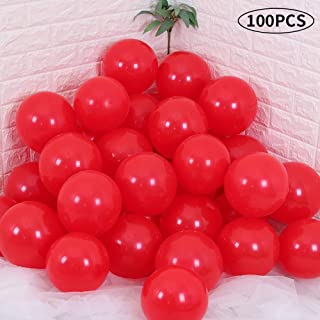 TONIFUL Red Party Balloons 10 inch Large Latex Helium Thickened Balloons for Wedding Birthday Baby Shower Christmas Thanksgiving Kids' Party Supplies Decorations(100 Pcs)