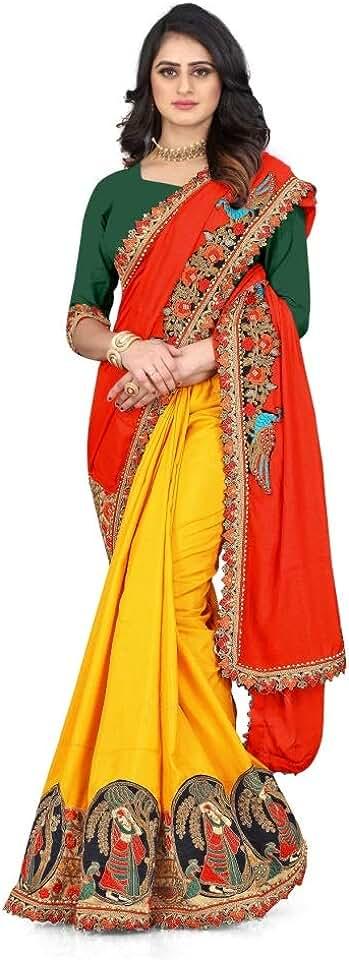 Indian Chitrakshi Women's Chanderi Art Silk Saree With Blouse Piece (1011 yellow_Red & Yellow) Saree