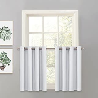 PONY DANCE Greyish White Valance - Half Curtain Cafe Tier Chrome Top Panel for Kitchen/Dining Room/Closet/Bathroom/Basement, 52 W x 36 L, One Piece
