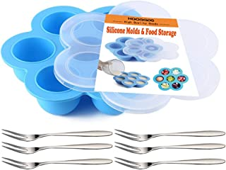 Silicone Egg Bite Molds for Instant Pot Accessories, Reusable Baby Food Storage Container, Freezer Trays with Lid & 6Pcs Fruit Forks