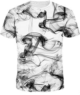 Camiseta Impresa 3D de la Manga Corta de la Historieta Camisetas de la Moda de los Muchachos (Blanco Negro, Large/X-Large)
