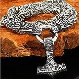 puuuk NóRdico Martillo De Thor Mjolnir Collar, Hombres Inoxidable Acero Odin Lobo Cabeza Colgante éTnico Amuleto Vikingo Regalo,50cm/20inch