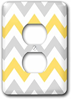 3dRose lsp_179795_6 Yellow and Grey Chevron zig zag pattern - gray white zigzag stripes - 2 Plug Outlet Cover
