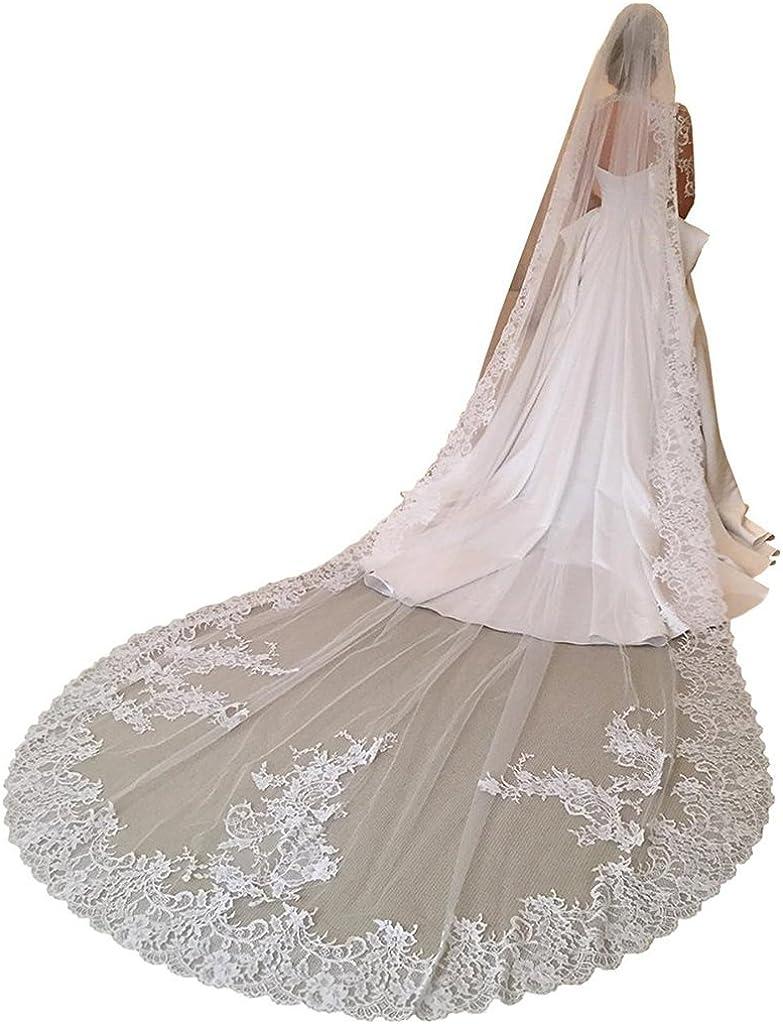 Fenghuavip 1 T Bridal Veils Long Lace Trim 3 Meters Wedding Veils for Bride