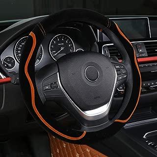 XiXiHao Car-Styling Car Steering Wheel Cover Short Fur Plush Winter Warm Fuzzy No Need (Orange)