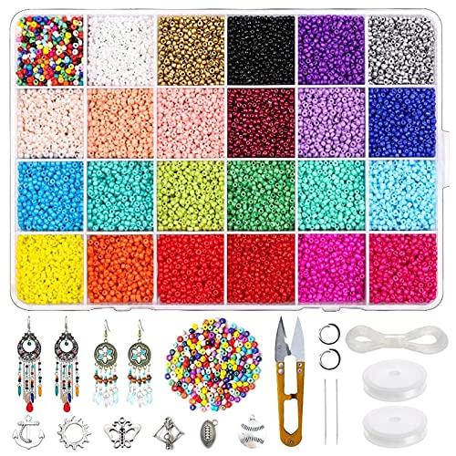 8640 piezas joyería DIY Set cuentas cristal, piedras preciosas naturales Manualidades, kit para manualidades, joyas, collar, pulsera, pendientes, con ganchos, línea anillos flexibles y pinzas cadena