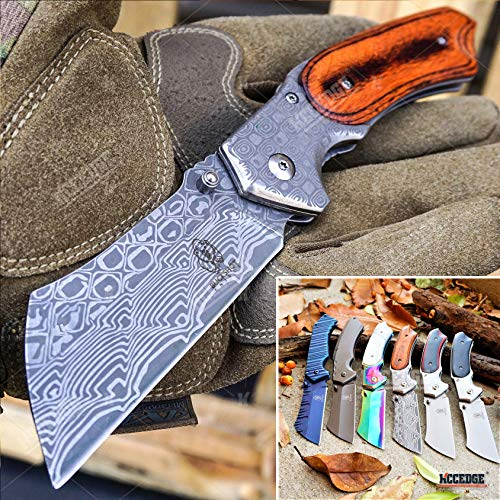 KCCEDGE BEST CUTLERY SOURCE EDC Pocket Knife Camping Accessories Razor Sharp Edge Cleaver Blade...