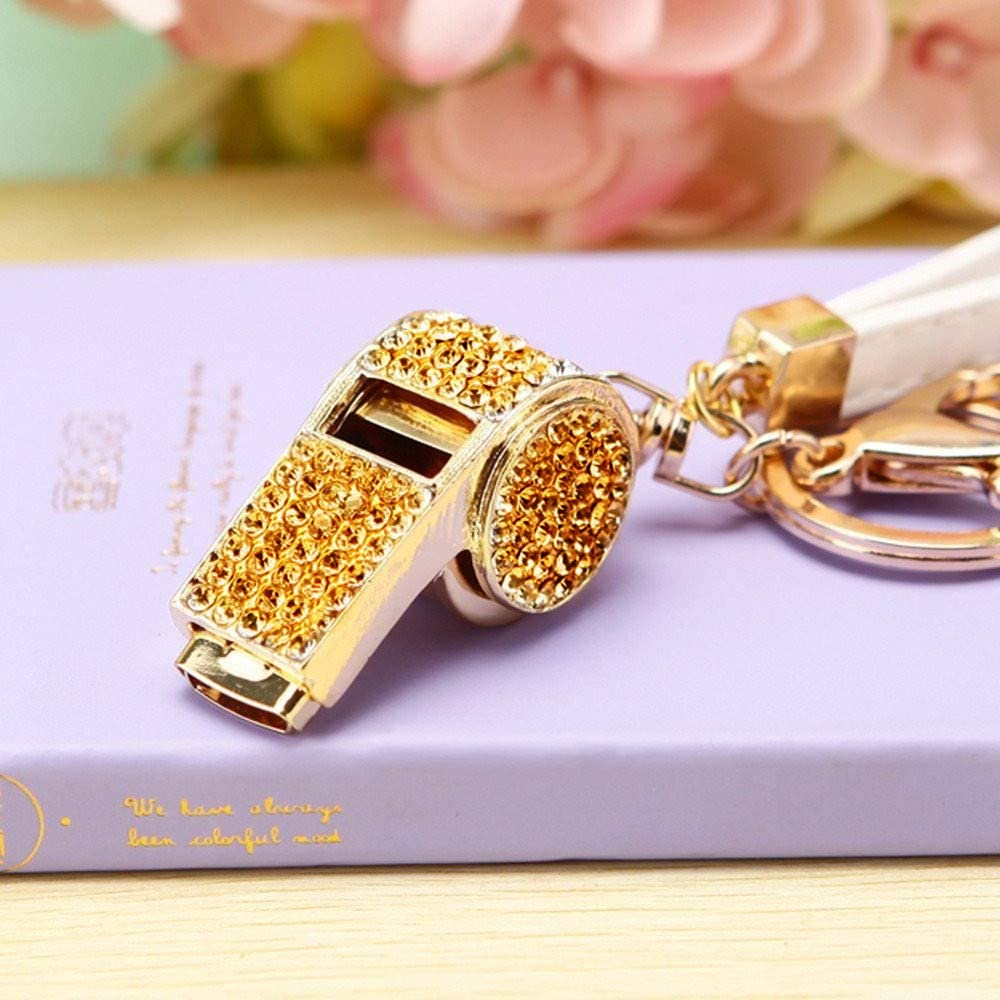 Whistle Keyring High Grade Rhinestone Crystal Pendant Key Chain Gift (Gold-plated Champagne)