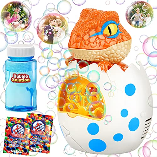 KIDDI MIDY Bubble Machine for Kids Dinosaur Bubble Blower, Dino Automatic Bubble Maker with Solution for Toddlers, 1000+ Bubbles Per Min, Parties Wedding Bath Toys Indoor Outdoor