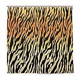 TropicalLife HaJie Badezimmer Duschvorhang Tierhaut Tiger Druck 183 x 183 cm Badvorhang mit Haken Wasserdicht Stoffvorhang