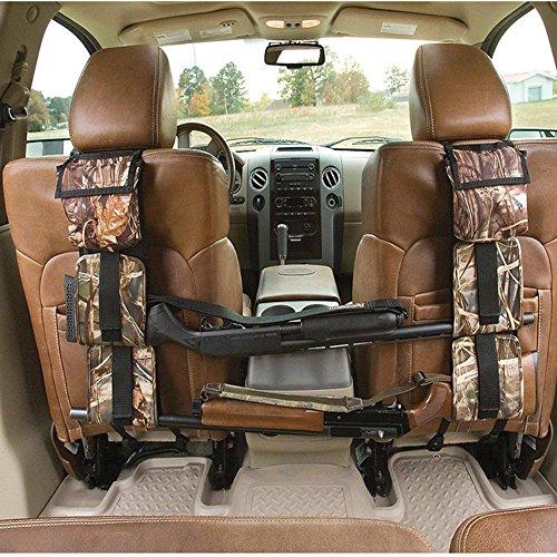 LIVIQILY Front Seat Storage Gun Sling Bag Car Seat Back Shotgun Rifle Rack Case Hunting Gun Holsters Pistols Organizer with Pockets (Camo)