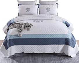 Handmade Cotton Quilted Bedspread with Pillowcase Printed Patchwork Coverlet for All Season Multifunction Blanket