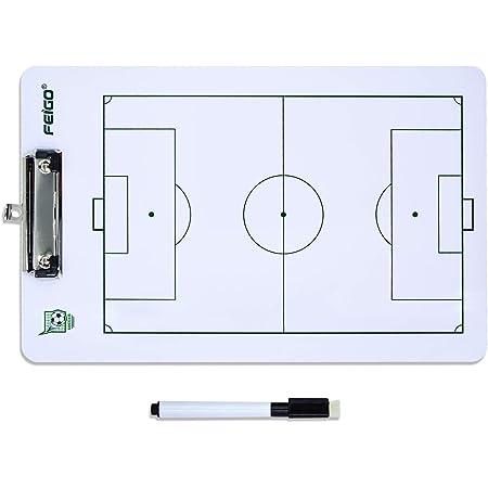 FEIGO Lavagna Tattica di Calcio, 40 × 24CM Pannello Tattico con Penna per Formazione, Concorrenza - Bianco