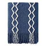 BOURINA Fluffy Chenille Knitted Fringe Throw Blanket Lightweight Soft Cozy for Bed Sofa Chair Throw Blankets, Navy 50' x 60'
