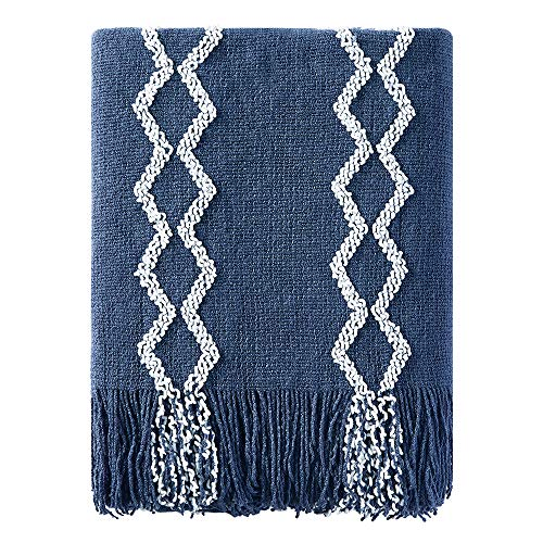 Bourina Fluffy Chenille Knitted Fringe Throw Blanket Lightweight Soft Cozy for Bed Sofa Chair Throw Blankets, Navy 50 x 60