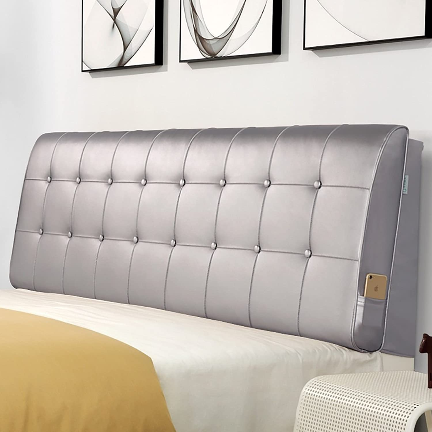 Headboard Bed Backrest Cushion Bed Cushion Bedside Pillow No Headboard Leather Large Soft Pillow Lumbar Support Detachable 17 Solid colors 5