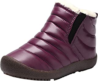 WUIWUIYU Boys Girls Outdoors Waterproof Pull Tab Slip On Warm Fur Lined Snow Boots Ankle Booties