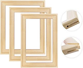 JHKSO DIY Natural Solid Pine Wood Pictures Frame for Diamond Painting Inner Frames Match for Canvas Wall Art Stretching Paintings