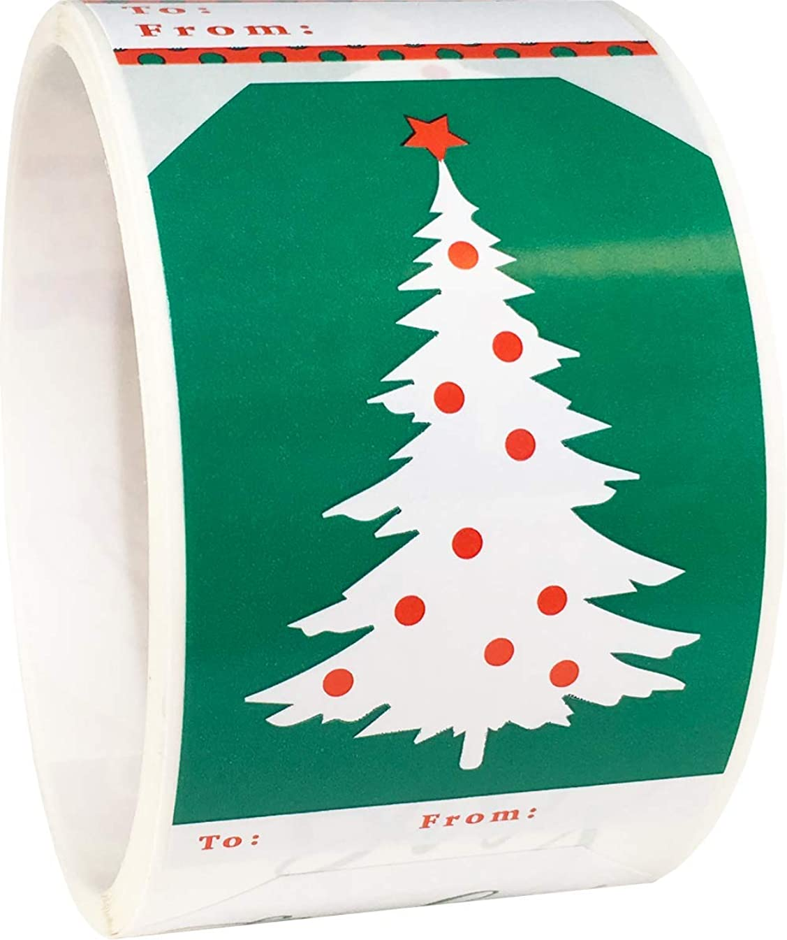 Christmas Gift Tags Holiday Present Stickers Red and Green 4 Different Designs 2 x 3 Inch 100 Total Labels