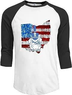 YFF Men's Unique Citadel Bulldogs With American Flag 3/4-Sleeve Raglan Tshirt