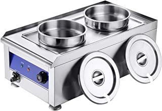 WeChef Commercial Stainless Steel Food Warmer Dual 7L Round Pot Countertop Steam Bain Marie Table Soup Restaurant Buffet