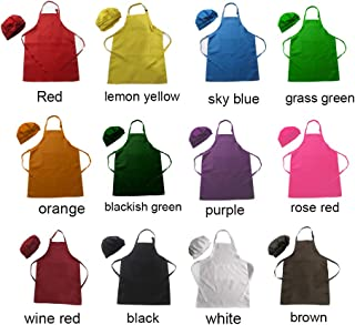 LOYHUANG 24 Pieces of Kids Children Chef Hat and Apron Set-Kitchen Cooking Baking Art Painting Waterproof Aprons Bulk with 2 Pockets for Girls Boys Kids Chlidren. (12 Mixed Colours, 12 Sets-SizeL)