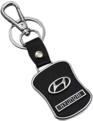 krioz Leather Keychain Compatible for Hyundai Car Logo with Chrome Metal Locking Key Chain