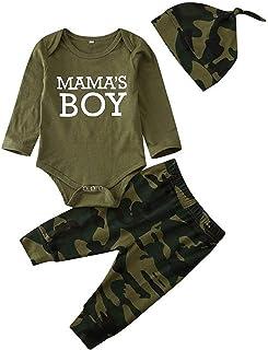 3 Piezas Traje de Bebé Recién Nacido Mameluco de Manga Larga con Letras Mama´S Girl/Boy + Pantalones Largos de Camuflaje + Diadema/Gorro Bodysuit Mono para Niños Niñas