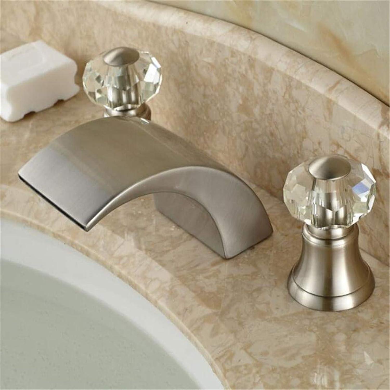 Faucet Washbasin Mixerbrushed Nickel 3Pcs Bathroom Sink Faucet Waterfall Spout Two Handles Basin Mixer Tap