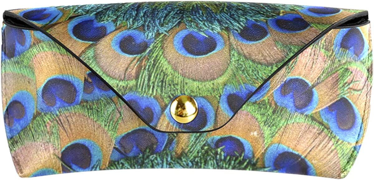 Multiuse PU Leather Goggles Bag Sunglasses Case Eyeglasses Pouch Abstract Bird Peacock Feather Round Portable Wallet