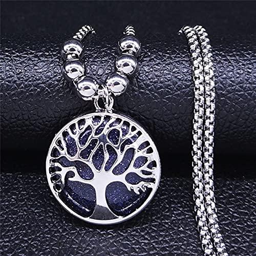YUNHE Collares y Colgantes de Acero Inoxidable de Piedra Lunar para Mujeres, Collar de Pentagrama de brujería, joyería de Cadena Nf2S04
