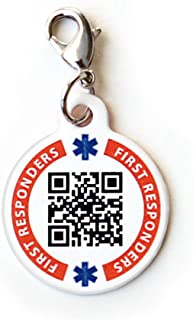 Dynotag Web Enabled Smart Medical ID/Emergency Information Charm Bracelet Tag + Lobster Clasp with DynoIQ & Lifetime Service. Steel, 22mm dia.