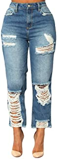 Women's Casual Loose Fit Pull-On Straight Jeans Ripped Distressed Denim Jeggings Plus Size