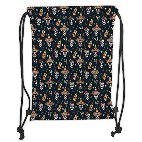 Fevthmii Drawstring Backpacks Bags,Mexican,Detailed Artistic Floral Sugar Skulls with Sombrero Hats Chili Peppers and Guitars,Multicolor Soft Satin,5 Liter Capacity,Adjustable String Closur