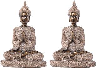 Flameer House Buddha Statue Thailand Sandstone Buddha Hindu Figurine Ornament Fengshui Housewarming Gift