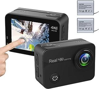 YDI Cámara Deportiva 4K 30fps WiFi Pantalla Táctil EIS Estabilización de Imagen Videocámara Acuática con 2 Batería Kits de Accesorios
