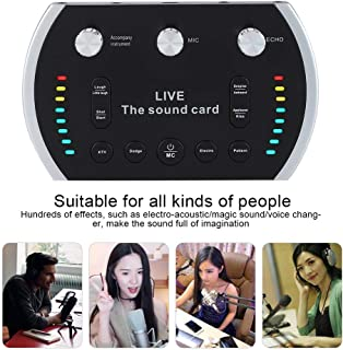 Ps4 sound card,Fealliance B5 Colorful Light Voice Changer device for PS4/Xbox/Phone/iPad/Computer, ps4 card with xbox live, USB Sound Cards of metal device for Karaoke studio recording microphone (M)