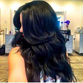 Full Shine Jet Black Clip Hair Extension One Piece Lace Top Area Clip In Human Hair 16inch 80g Remy Clip Ins Crown Hair Extensions Hidden Hair Piece For Women