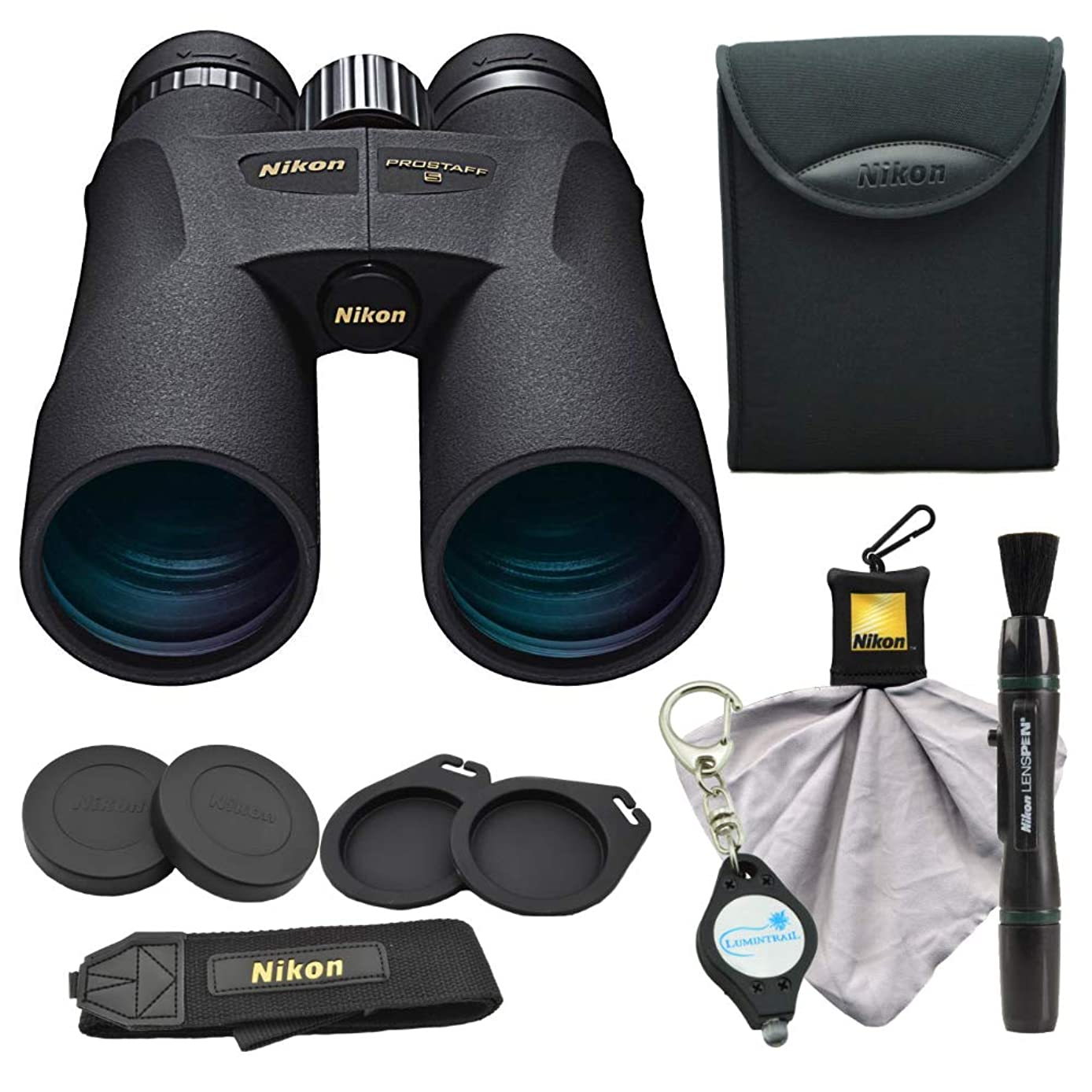 Nikon PROSTAFF 5 12X50 Binoculars (7573), Black Bundle with a Nikon Lens Pen, Micro Fiber Cleaning Cloth and Lumintrail Keychain Light