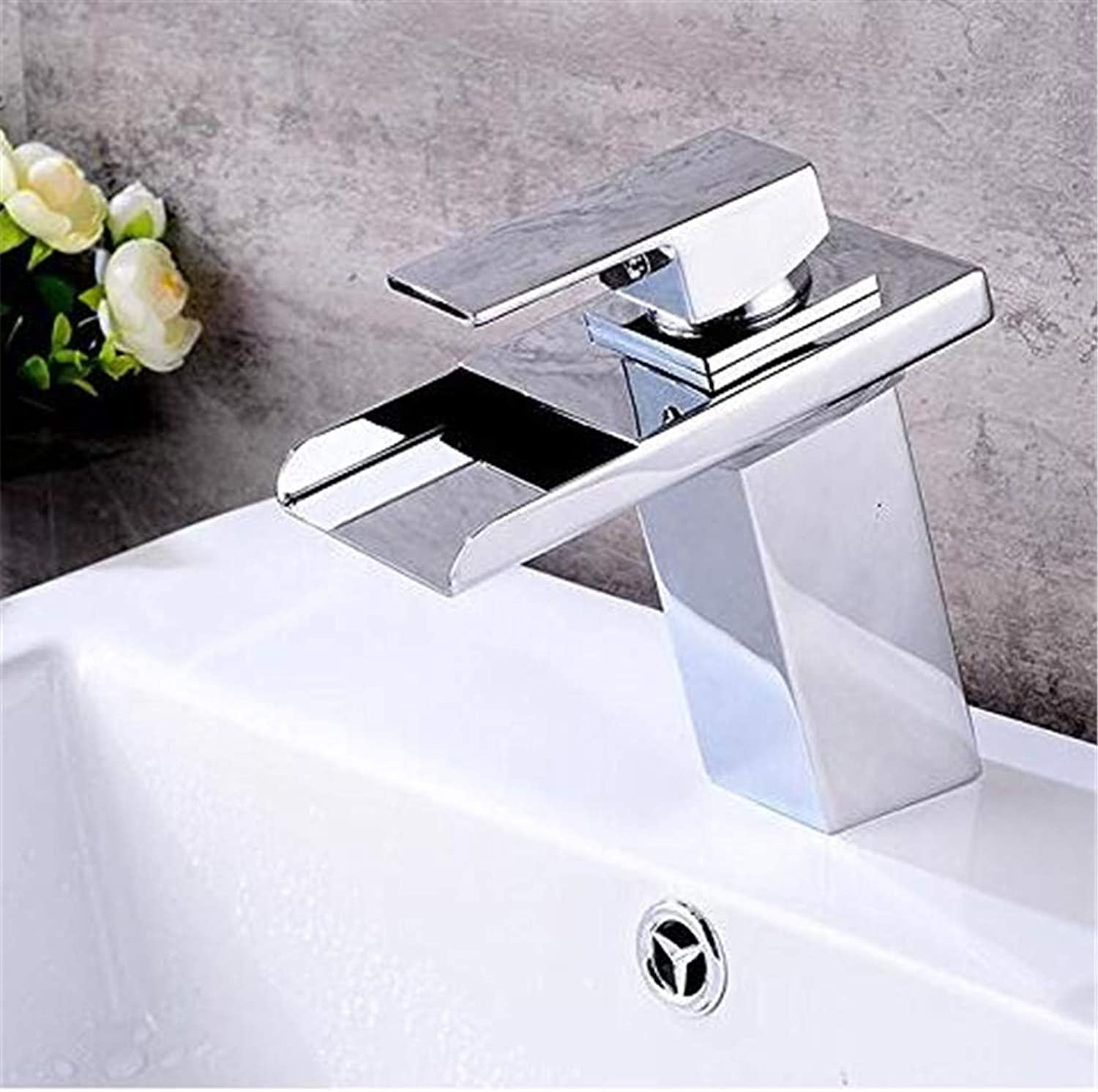 Chrome Kitchen Sink Tapled Bathroom Waterfall Spout Bathroom Sink Faucet Single Handle Mixer Tap Chrome Finish