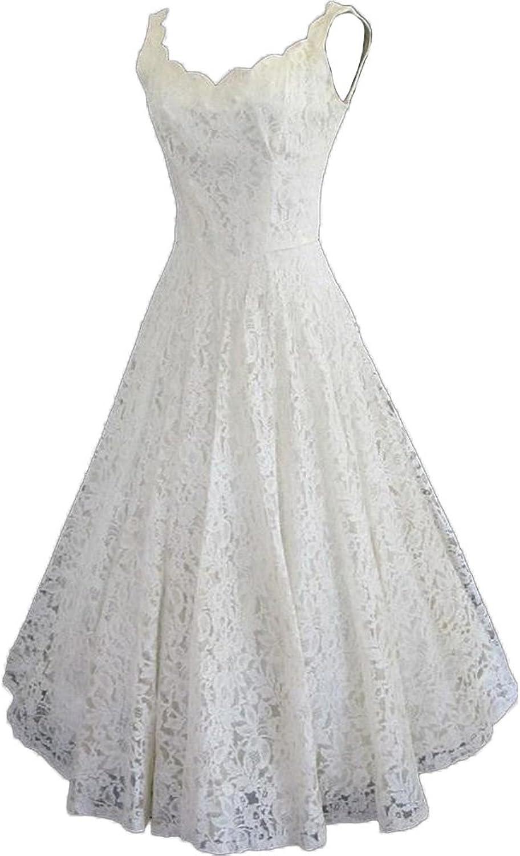 HotDresses Lace Short Wedding Dress a Line Sleeveless Bridal Gowns for Beach Wedding Tea Length
