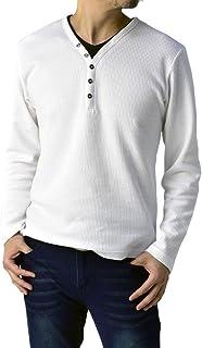 (フラグオンクルー) FLAG ON CREW ゆうパケット発送 メンズ ワッフル Yヘンリーネック ロングTシャツ 長袖 Tシャツ / B2X