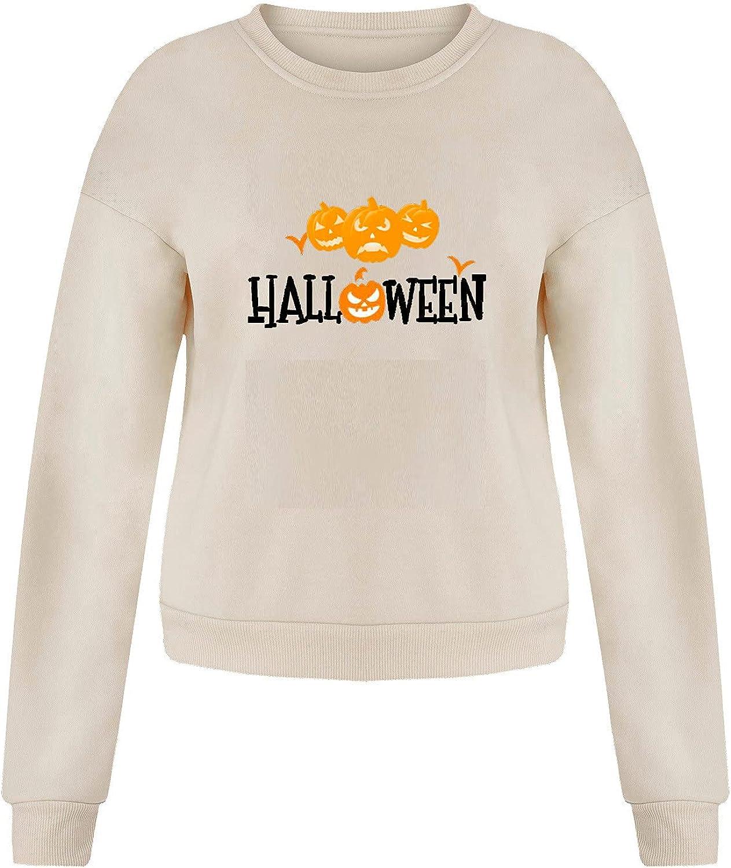 Halloween Womens Long Sleeve Sweatshirt Pumpkin Devil Printed Pullover Tops Fashion Hoodie Sweater