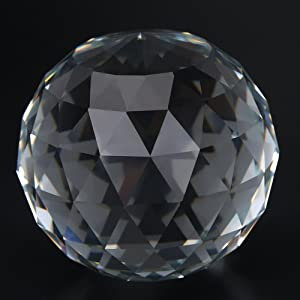 ViaGasaFamido Clear Cut Crystal Suncatcher Ball, 60/80mm Translucent Faceted Gazing Ball Transparent Crystal Ball Perfect Birthday for Home Office Decor Accessory(80MM/3.15in)