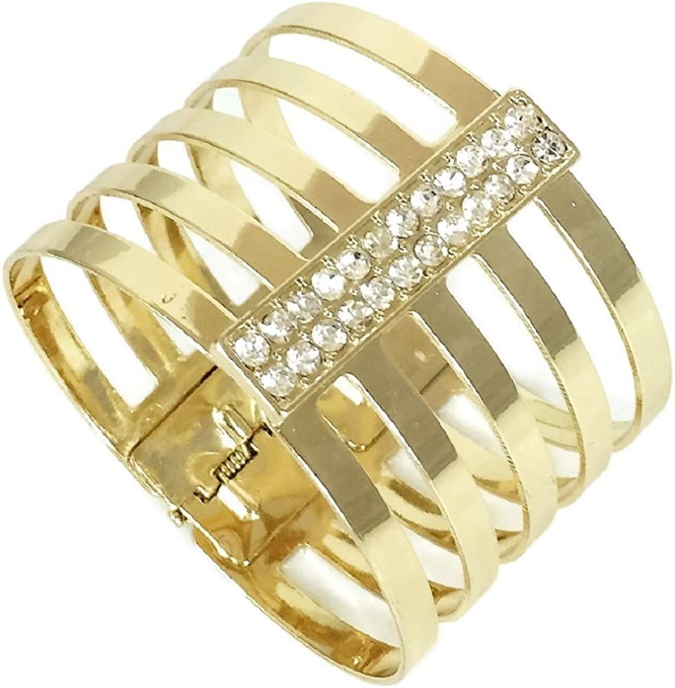 INC International Concepts gold tone crystal openworks cuff hinged bracelet, 2.25