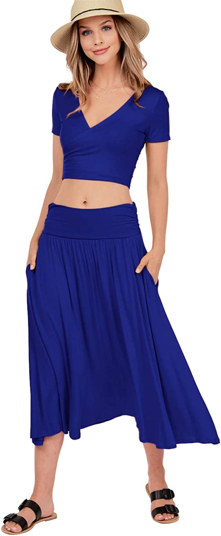 iliad USA Women's Flared Skirt - Casual High Waist Shirring Midi Swing Flowy Basic Elastic Waistband with Pockets 9013