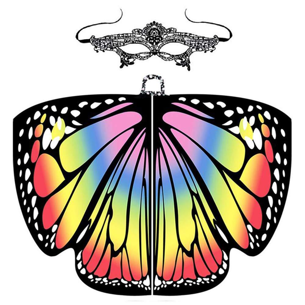 KOBWA Disfraz de alas de Mariposa con máscara de Hada, monarca de ...