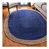YU- a Alfombra Ovalada de Yute con Diseño de Borde Natural, Alfombra Azul Tejida A Mano, Alfombra Ecológica Suave y Plegable para Decoración Del Hogar (Size : 80 * 150cm)