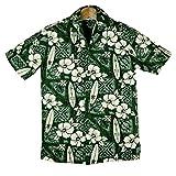 Winnie Fashion/Hawaiian Togsメンズアロハシャツ◆緑地/白ハイビスカス/ボード柄◆メイドイン ハワイ (US S)