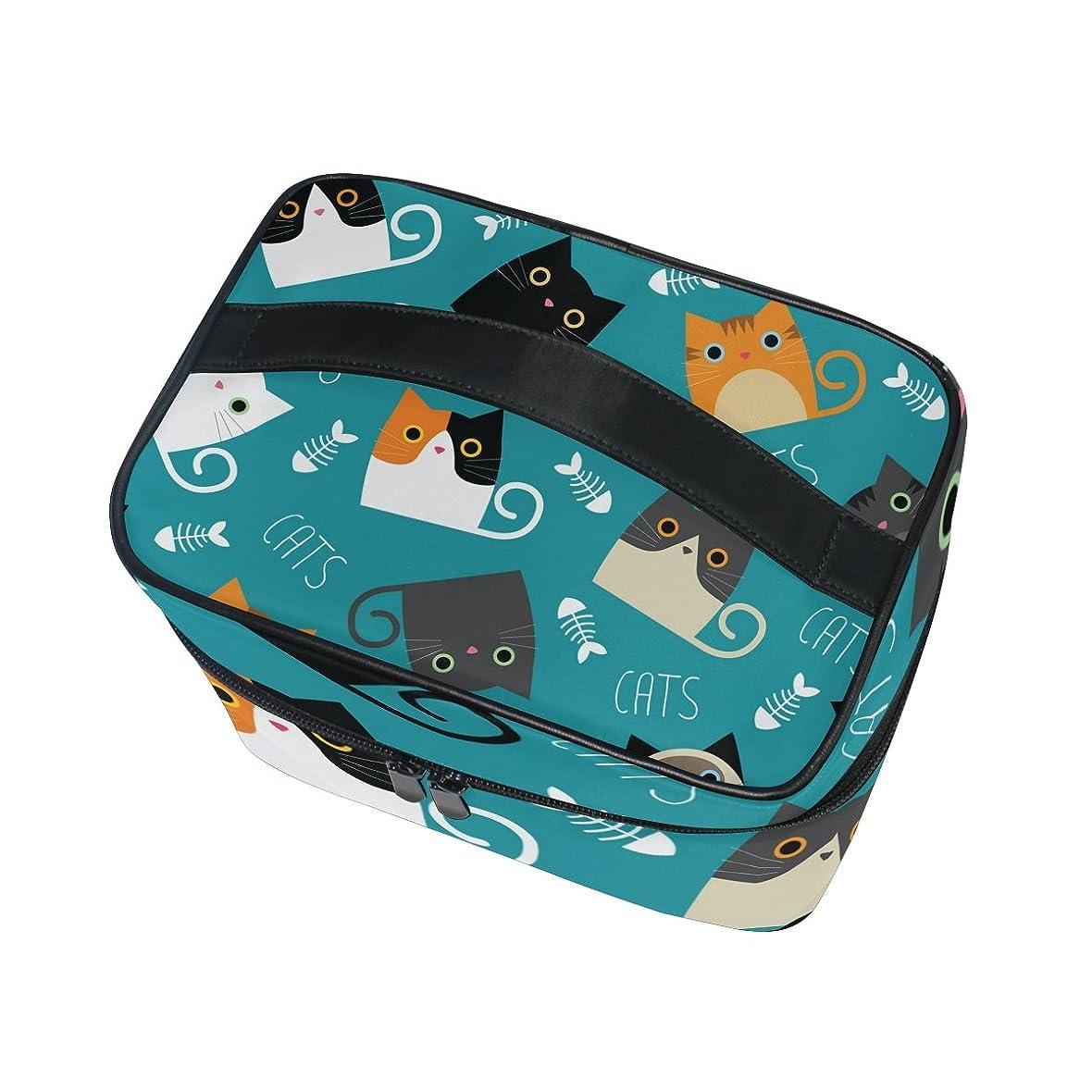 はっきりとありふれたパンダALAZA 化粧ポーチ 猫柄 ねこ柄 化粧 メイクボックス 収納用品 ブルー 大きめ かわいい